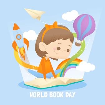Evento del día mundial del libro de estilo plano