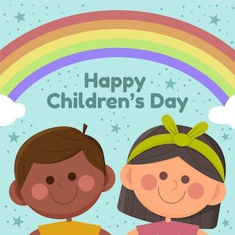 Evento del día mundial del niño en diseño plano.