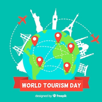 Evento del día mundial del turismo con transporte