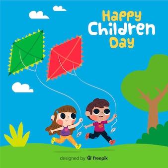 Evento del día del niño con ilustración artística.