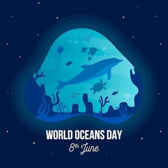 Evento del día de los océanos con delfines y tortugas