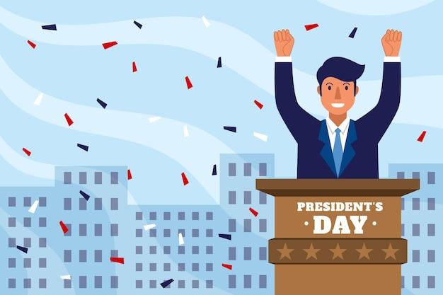 Evento del día del presidente con un hombre que tiene un discurso ilustrado.
