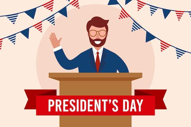 Evento del día del presidente con un hombre que tiene un discurso.