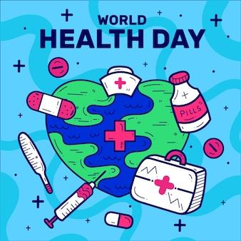 Evento del día de la salud del diseño plano