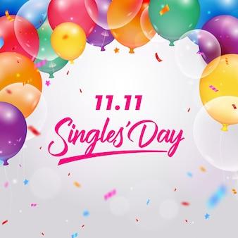 Evento del día de los solteros con globos realistas