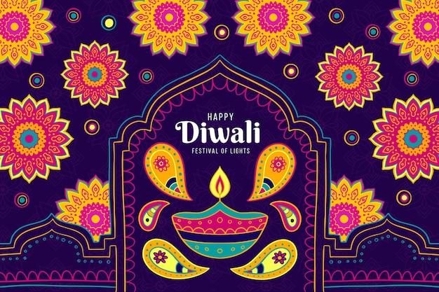 Evento de diwali de diseño dibujado a mano