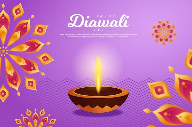 Evento diwali con diseño plano diya
