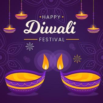 Evento diwali con diseño plano diyas.