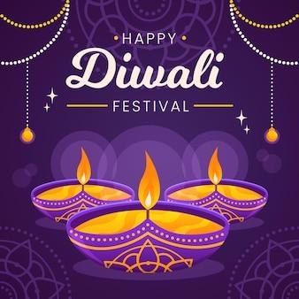Evento de diwali con diseño plano de velas.
