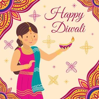 Evento de diwali estilo dibujado a mano