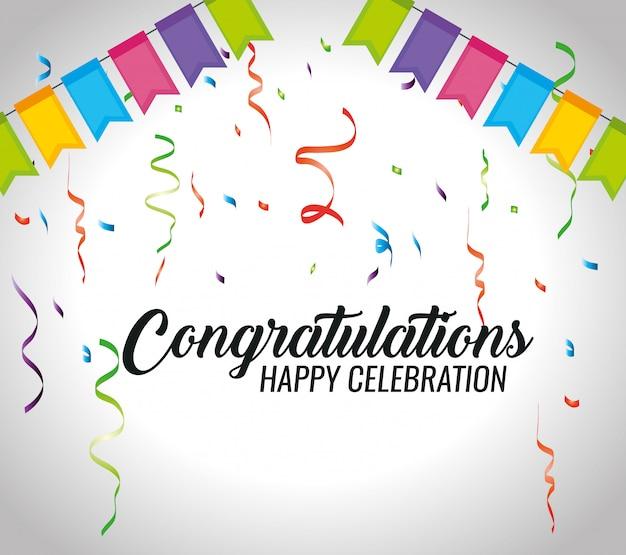 Evento de felicitaciones con decoración de fiesta y confeti.