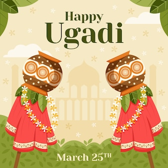 Evento feliz del día de ugadi del diseño plano