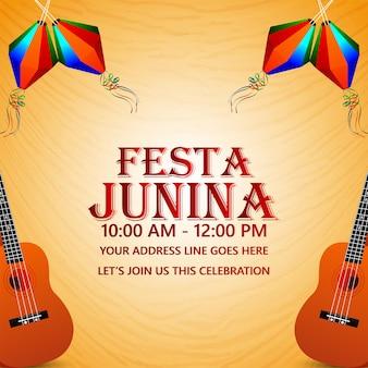 Evento festa junina brasil con linterna de colores creativos y guitarra