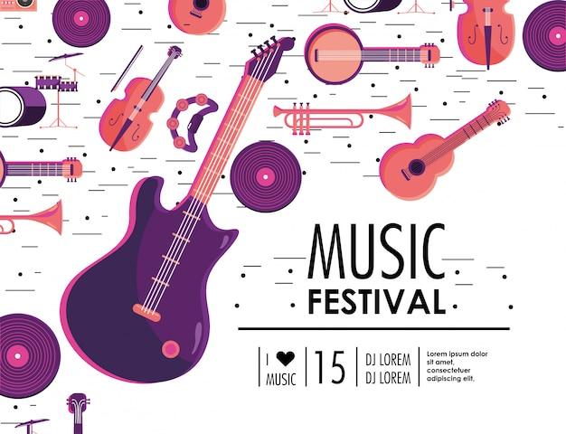 Evento de guitarra eléctrica e instrumentos para festival de música.