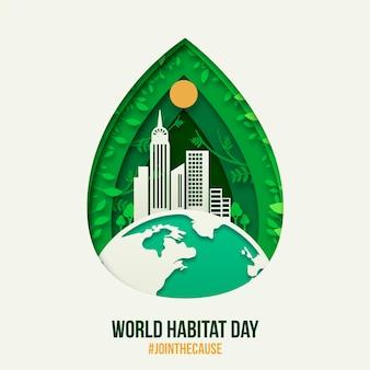 Evento ilustrado del día mundial del hábitat en papel