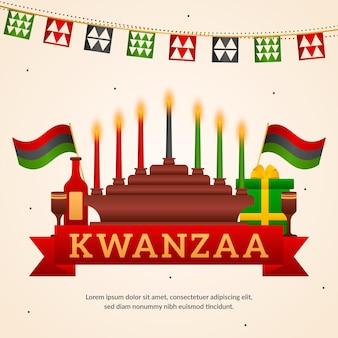 Evento ilustrado de kwanzaa con candelabros.