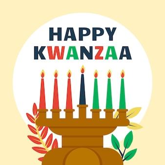Evento de kwanzaa con candelabros ilustrados