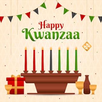 Evento kwanzaa con ilustración de candelabros.