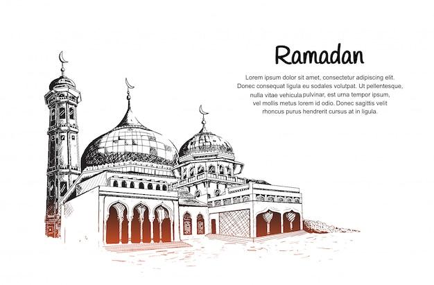 Evento del mes de ramadán con ilustración de la mezquita