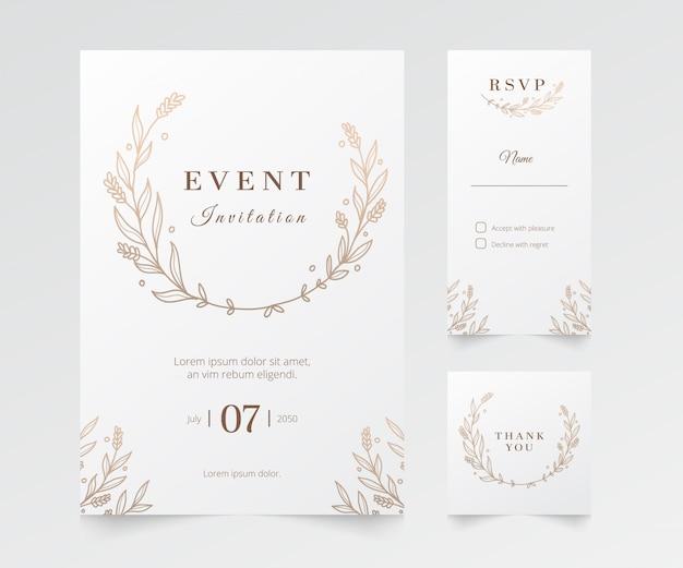 Evento minimalista moderno e invitación de boda