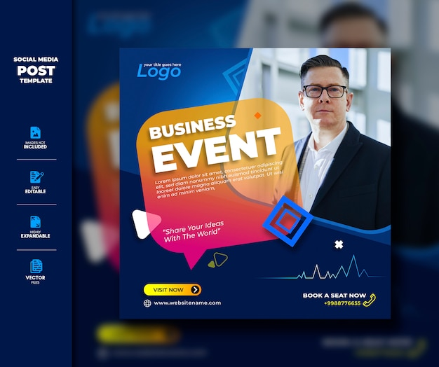 Evento de negocios social media post template premium