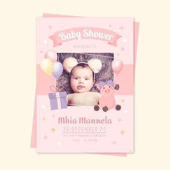 Evento de plantilla de invitación de ducha de bebé niña