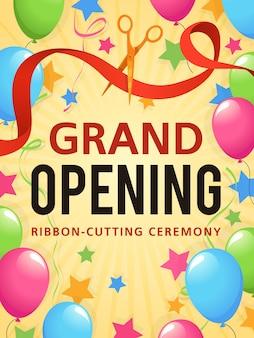 Evento de presentación de gran inauguración, tarjeta de invitación, volante publicitario de la ceremonia de apertura de la tienda, cartel promocional o certificado de anuncio de fondo vectorial