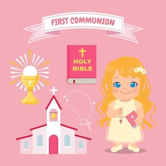 Evento de primera comunión de niña linda