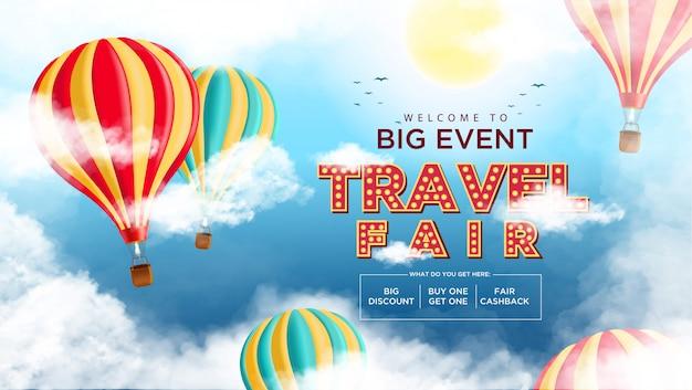Evento de promoción de fondo de la feria de viajes