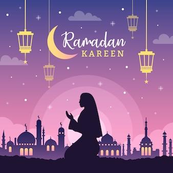 Evento de ramadán de diseño plano