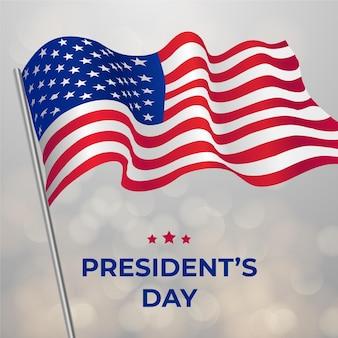 Evento realista del día del presidente con bandera.