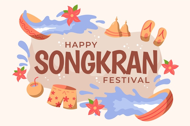 Evento de songkran de estilo dibujado a mano