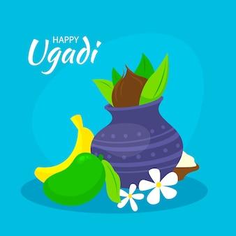 Evento de ugadi feliz dibujado a mano