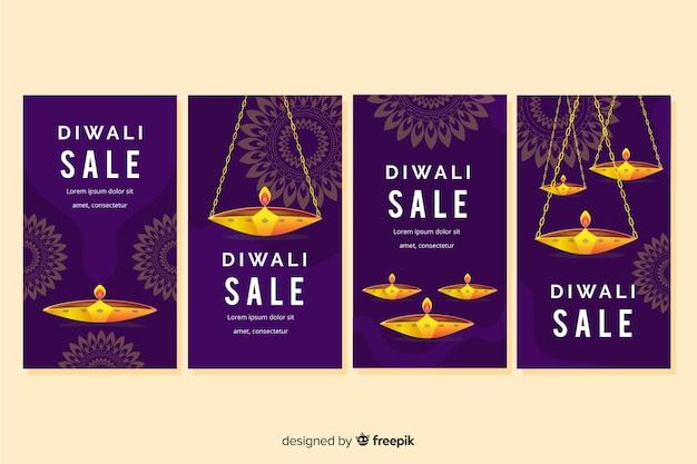 Evento de velas de diwali para la colección de historias