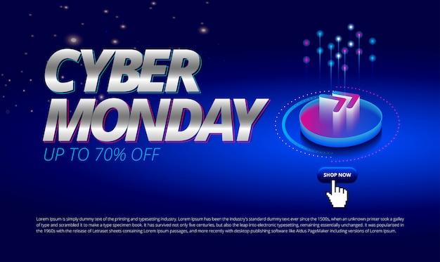 Evento de venta en línea de cyber monday espacio azul con el próximo ícono compre ahora para portada de banner promoción
