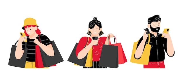 Evento de venta de viernes negro con mujer y hombre comprando en línea en un teléfono inteligente y sosteniendo una bolsa de compras y una ilustración de la bolsa de asas.