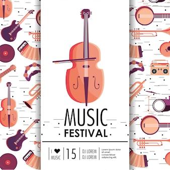 Evento de violín e instrumentos para festival de música.