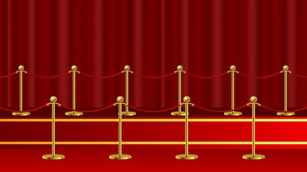 Evento vip ceremonial de la alfombra roja o visita realista del jefe de estado con barreras de oro