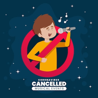 Eventos musicales cancelados con persona y micrófono.