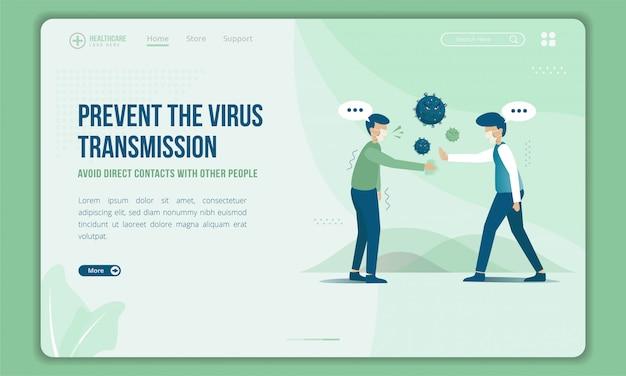 Evite tocar a otras personas para evitar la transmisión de virus en la plantilla de página de destino