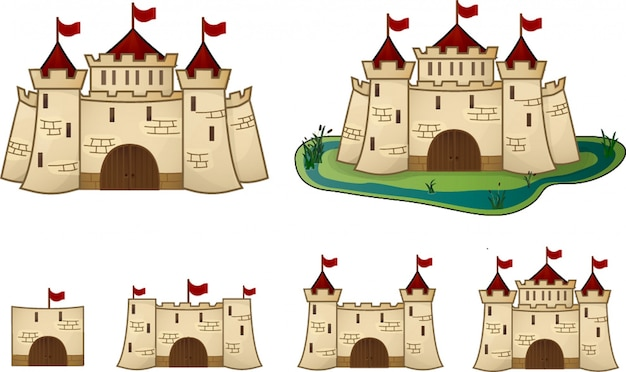 Evolución del castillo de dibujos animados para el juego.