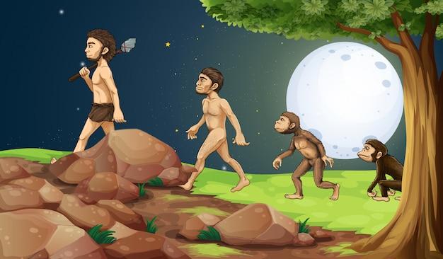 Evolución del hombre en la cima de la colina.