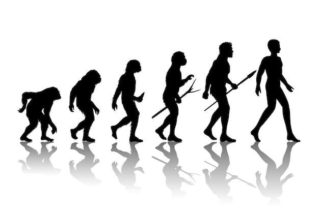 Evolución del hombre. desarrollo de crecimiento de progreso de silueta.