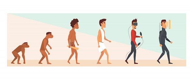 Evolución humana y futuro. ilustración