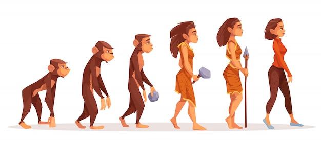 Evolución humana del mono a la mujer.