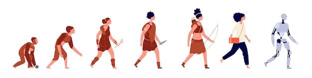 Evolución de la mujer. crecimiento humano, humano de negocios de dibujos animados y hombre de las cavernas primitivo. simio de desarrollo homo al concepto de vector de robot de dama. ilustración desarrollo de monos y robots, crecimiento de la evolución humana