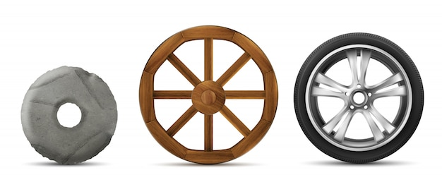 Evolución de piedra, madera y ruedas modernas.