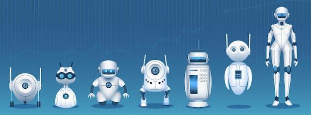 Evolución del robot. cronología de desarrollo de tecnología de inteligencia artificial desde un simple bot hasta un androide humanoide. concepto de vector de innovación tecnológica. ilustración tecnología de evolución moderna futurista