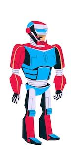 Evolución del robot, hombre en exoesqueleto de metal, vector de dibujos animados de progreso tecnológico de inteligencia artificial en color azul desarrollo de robots