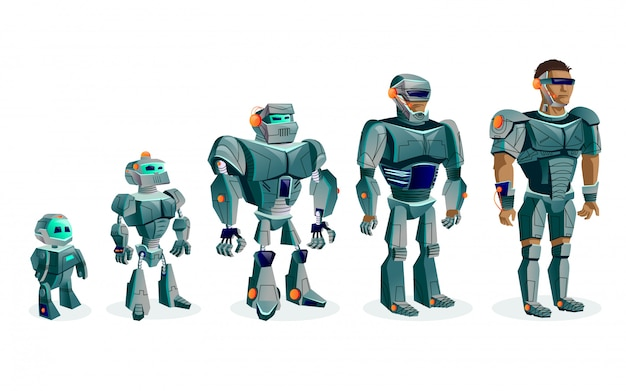 Evolución de los robots, inteligencia artificial del progreso tecnológico.